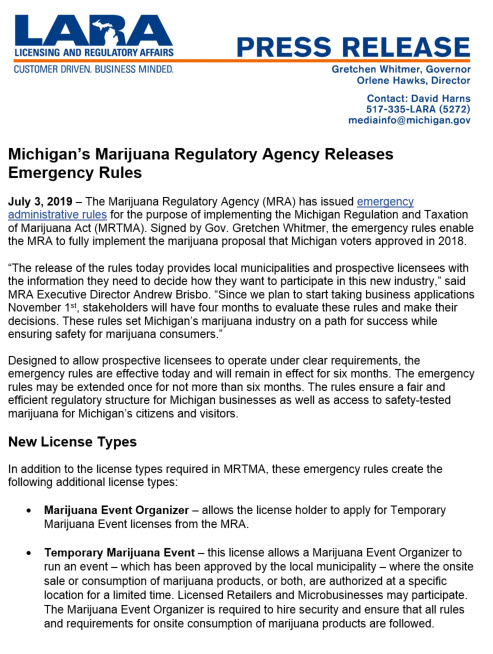 Marijuana Regulatory Agency Releases Emergency Administrative Rules for Adult-Use Cannabis Businesses